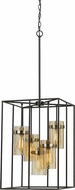 Cal FX-3680-5 Cremona Modern Black / Antique Brass Foyer Light Fixture