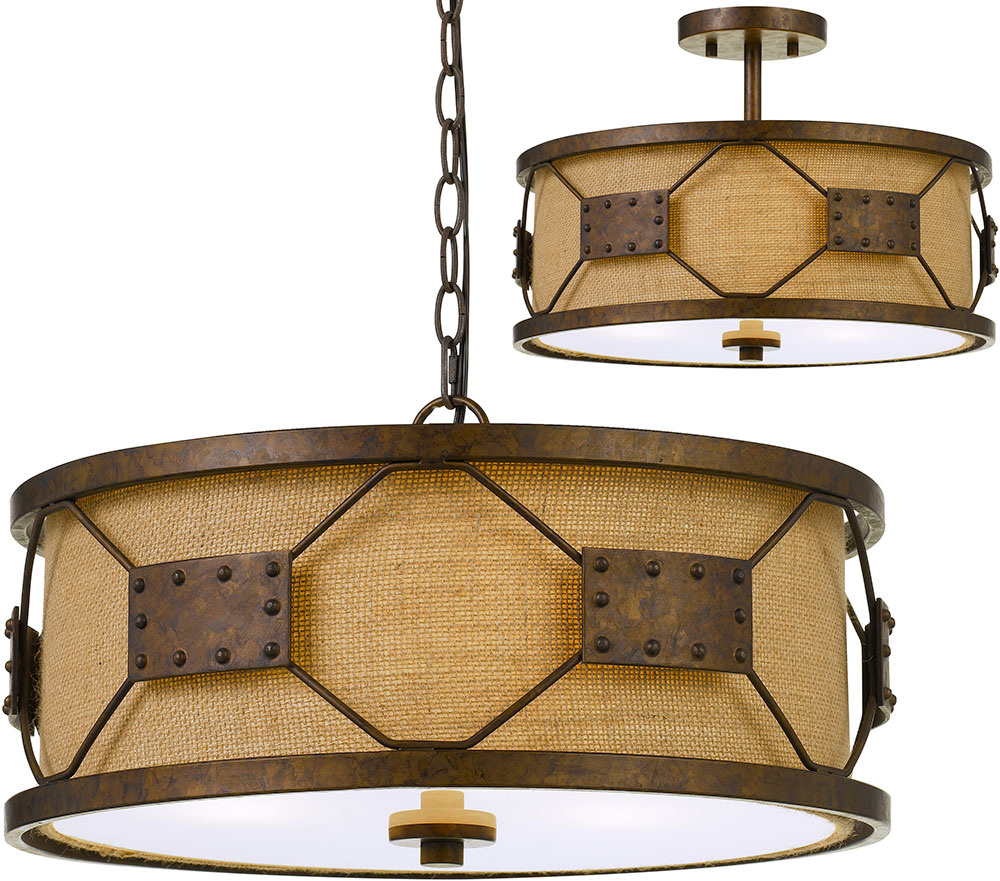 Cal Fx 3681 3 Ragusa Contemporary Rust Drum Pendant Light Fixture Flush Mount Lighting
