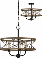 Cal FX-3685-3 Modica Contemporary Distress Ivory / Iron Drum Drop Ceiling Lighting / Flush Mount Light Fixture