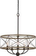 Cal FX-3685-5 Modica Modern Distress Ivory / Iron Drum Ceiling Light Pendant