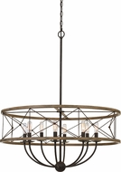 Cal FX-3685-8 Modica Contemporary Distress Ivory / Iron Drum Ceiling Pendant Light