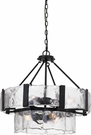 Cal FX-3686-7 Siena Modern Black Smith Drum Drop Ceiling Light Fixture