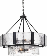 Cal FX-3686-9 Siena Contemporary Black Smith Drum Drop Lighting Fixture