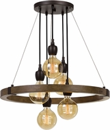 Cal FX-3687-5 Martos Contemporary Pine / Iron Chandelier Light