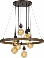 Cal FX-3687-8 Martos Modern Pine / Iron Chandelier Lighting