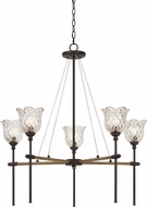 Cal FX-3688-5 Melilla Pine / Iron Lighting Chandelier