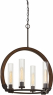 Cal FX-3691-4 Sulmona Contemporary Oak / Iron Mini Ceiling Chandelier