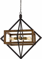 Cal FX-3694-6 Venosa Contemporary Pine / Iron Pendant Lighting Fixture