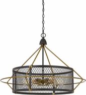 Cal FX-3696-6 Caserta Contemporary Antique Brass / Black Hanging Pendant Lighting