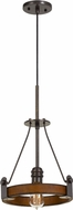 Cal FX-3698-1 Lucca Contemporary Oak / Iron Mini Hanging Pendant Light