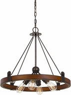 Cal FX-3698-4 Lucca Modern Oak / Iron Mini Lighting Chandelier