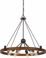 Cal FX-3698-6 Lucca Contemporary Oak / Iron Chandelier Lamp