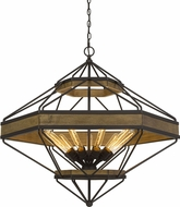 Cal FX-3702-9 Alicante Modern Wood / Black Pendant Light Fixture