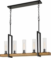 Cal FX-3704-5 Vienna Contemporary Iron / Light Oak Kitchen Island Light