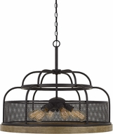 Cal FX-3706-6 Akaki Contemporary Iron / Light Oak Pendant Lamp