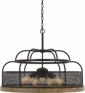 Cal FX-3706-9 Akaki Modern Iron / Light Oak Pendant Lighting Fixture