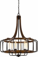 Cal FX-3708-6 Kellia Contemporary Iron / Dark Oak Hanging Pendant Lighting