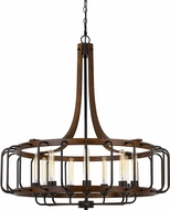 Cal FX-3708-9 Kellia Modern Iron / Dark Oak Pendant Light