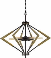 Cal FX-3709-6 Malounta Contemporary Antique Brass / Black Foyer Lighting