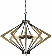 Cal FX-3709-9 Malounta Modern Antique Brass / Black Foyer Light Fixture