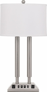 Cal LA-2004DK-3R-BS Brushed Steel Table Top Lamp w/ USB and Power Outlets