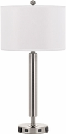 Cal LA-2004NS-5R-BS Brushed Steel Side Table Lamp w/ USB and Power Outlets