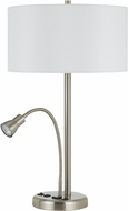 Cal LA-2698TB-1-BS Gooseneck Brushed Steel Table Top Lamp w/ LED task light