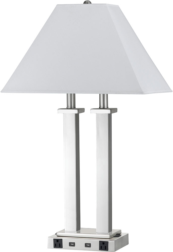 Cal LA 60003DK 4RBS Brushed Steel Table Lamp W/ USB And Power Outlets.  Loading Zoom