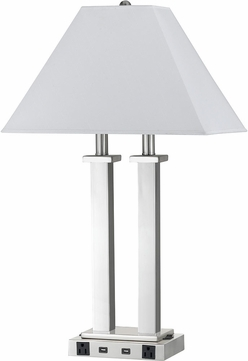 Cal LA-60003DK-4RBS Brushed Steel Table Lamp w/ USB and Power Outlets
