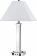 Cal LA-60003TB-10BS Brushed Steel Table Light w/ USB and Power Outlets