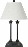 Cal LA-60007DK-5RDB Dark Bronze / Wood Lighting Table Lamp w/ USB and Power Outlets