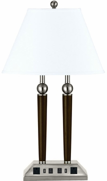Cal LA-8005DK-3R-BS Espresso / Brushed Steel Table Top Lamp w/ USB and Power Outlets