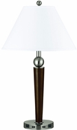 Cal LA-8005NS-6R-BS Espresso / Brushed Steel Side Table Lamp w/ USB and Power Outlets