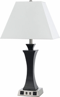 Cal LA-8021NS-4R-BS Brushed Steel Table Lamp w/ USB and Power Outlets