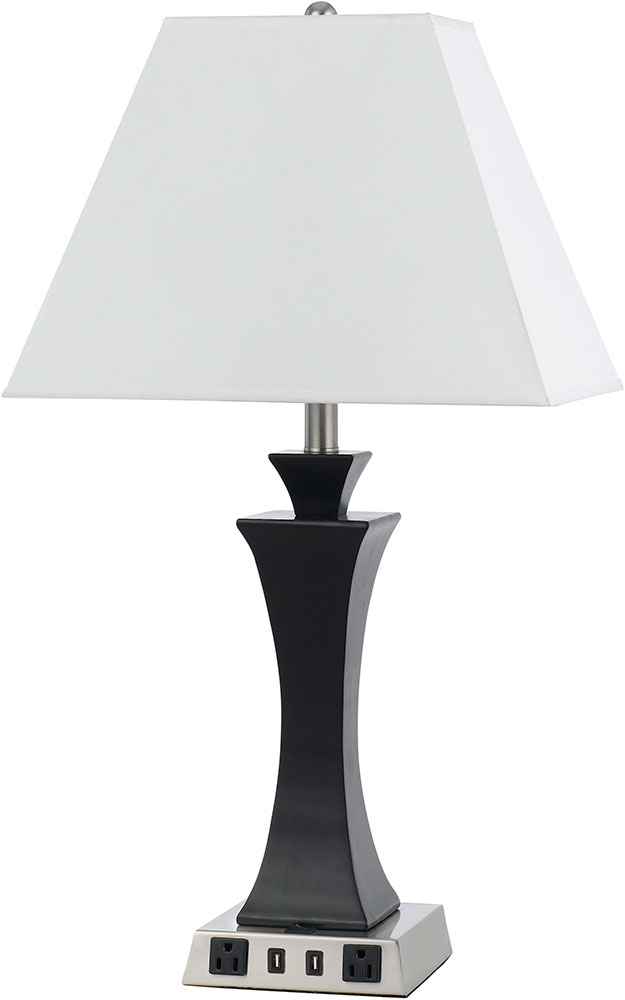 Cal La 8021ns 4r Bs Brushed Steel Table Lamp W Usb And Power