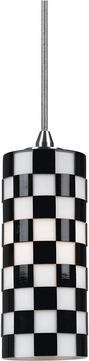 Cal UP-1018-6-BS Uni-Pack Contemporary Brushed Steel Black and White Mini Pendant Light Fixture
