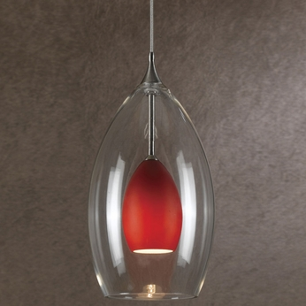 Cal UP-1047-6-BS Uni-Pack Modern Brushed Steel Red Halogen Mini Drop Lighting Fixture