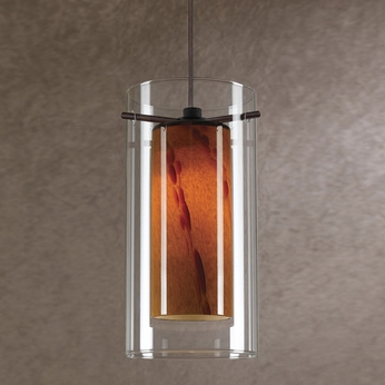 Cal UP-1053-6-RU Uni-Pack Contemporary Rust Red Swirl Halogen Mini Hanging Lamp