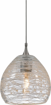 Cal UP-1063-6-BS Uni-Pack Modern Brushed Steel Clear Halogen Mini Pendant Lighting Fixture