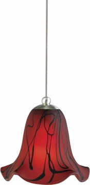 Cal UP-972-6-BS Uni-Pack Contemporary Brushed Steel Red Drizzle Halogen Mini Drop Lighting