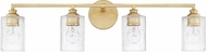 Capital Lighting 120541CG-422 Milan Modern Capital Gold 4-Light Lighting For Bathroom