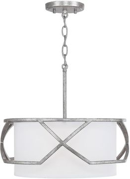 Capital Lighting 232431AS Bryce Modern Antique Silver Drum Pendant Lighting