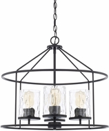 Capital Lighting 325741MB-451 Contemporary Matte Black Drum Drop Ceiling Light Fixture