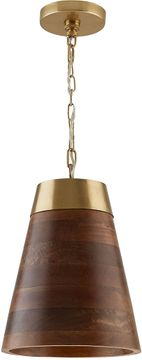 Capital Lighting 330314WR Contemporary Wood and Brass Mini Hanging Light