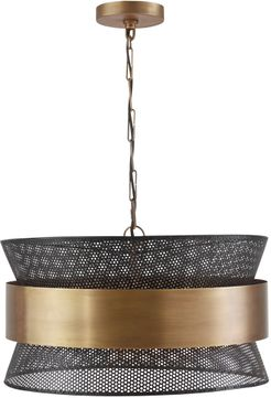 Capital Lighting 330447PK Modern Patinaed Brass and Black Drum Ceiling Light Pendant