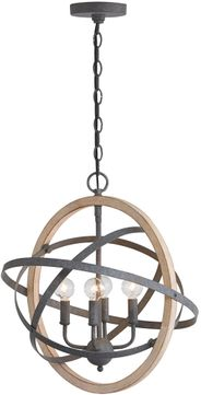 Capital Lighting 330544IW Modern Iron and Wood Hanging Lamp