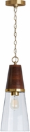 Capital Lighting 333911WR-477 Contemporary Wood and Brass Mini Ceiling Light Pendant