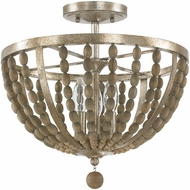 Capital Lighting 4795TZ Lowell Contemporary Tuscan Bronze with Wood Beads Semi-Flush Flush Mount Lighting Fixture