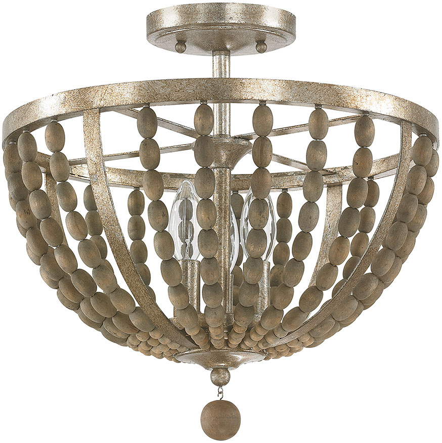 Capital Lighting 4795tz Lowell Contemporary Tuscan Bronze With Wood Beads Semi Flush Flush Mount Lighting Fixture