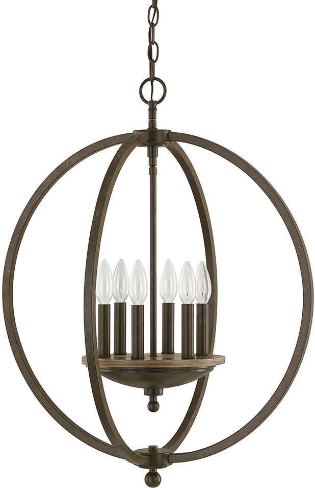 Capital Lighting 4866BA Perry Contemporary Bronze and Oak Hanging ...
